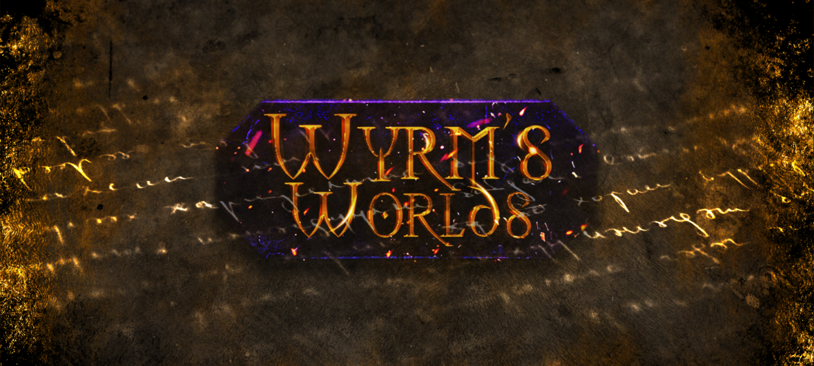 Wyrm's Worlds Header Image. A fiery logo, blue with bronze letters shines through a glowing old paper-like background. Within it, glowing letters shine.