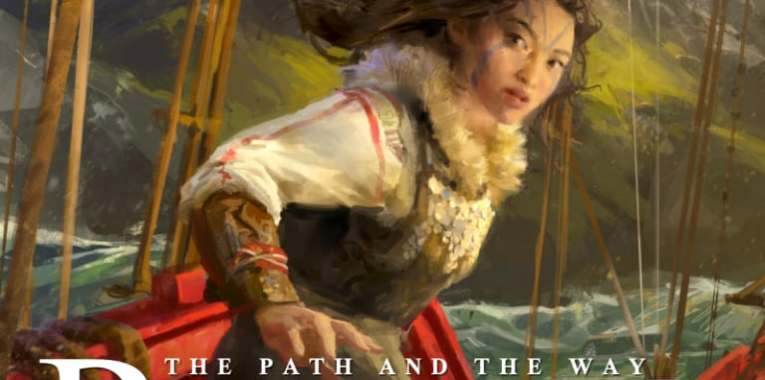 The Path and the Way by Michael S. Jackson cover. A woman aboard a ship looks back, startled, her look of a fearsome warrior. A gorgeously illustrated cover, with mountains and the sea for a background.